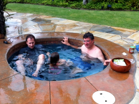 The menfolk and the kids in the hot tub